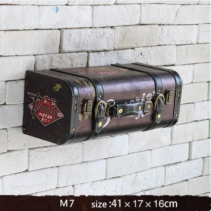 Vintage retro PU leather painting Luggage suitcase box