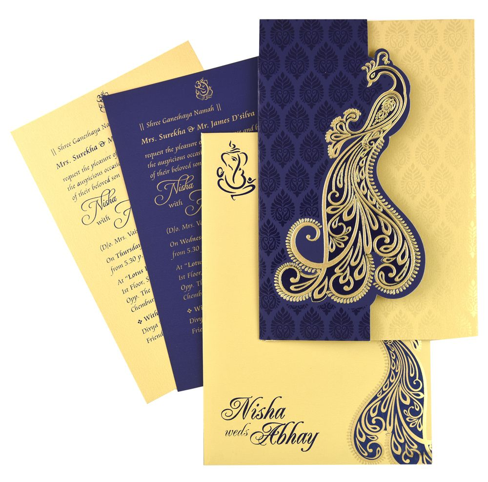 Nds53 Blue Color Shimmery Finish Paper Designer Multifaith