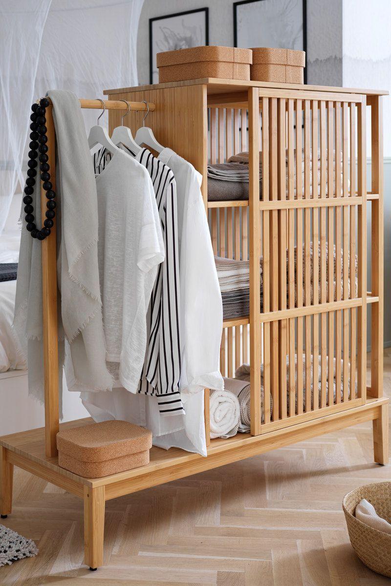 Neu Nordkisa Kleiderschrank Offen Schiebetur Bambus 120x123 Cm