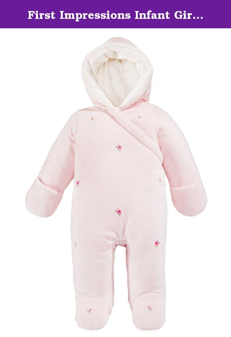 6b3d5b510 First Impressions Infant Girls Pink Rosette Snowsuit Footed Pram S ...