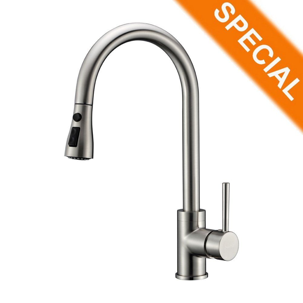 Kitchen Sink Faucet Brushed Nickel with Pull Down Sprayer Delle Rosa ...