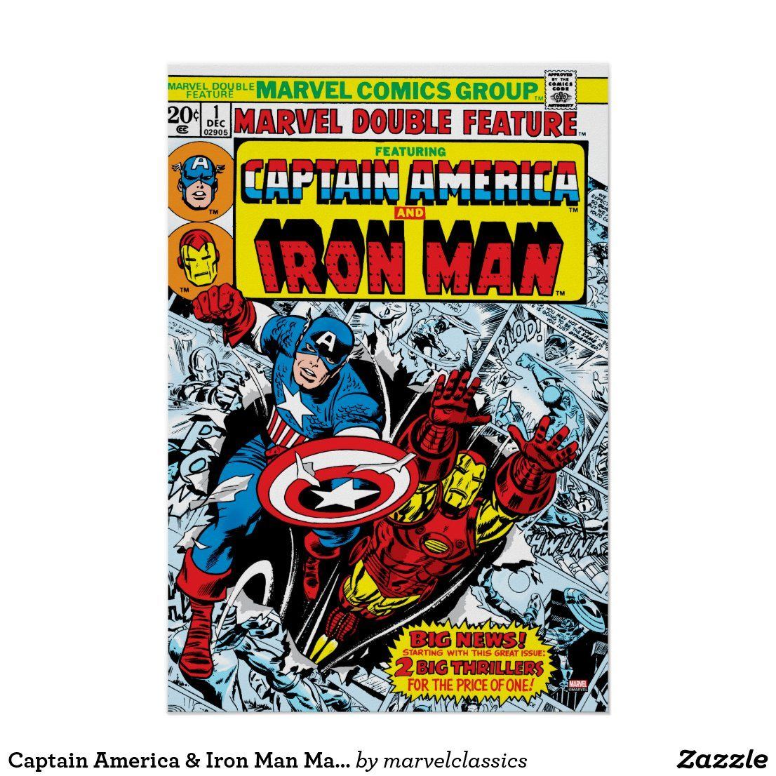 Captain America & Iron Man Marvel Double Feature Poster