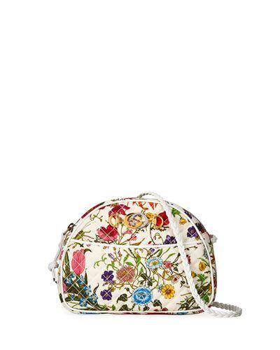 2fdbf2ba83f Gucci Trapuntata Small Quilted Floral Shoulder Bag