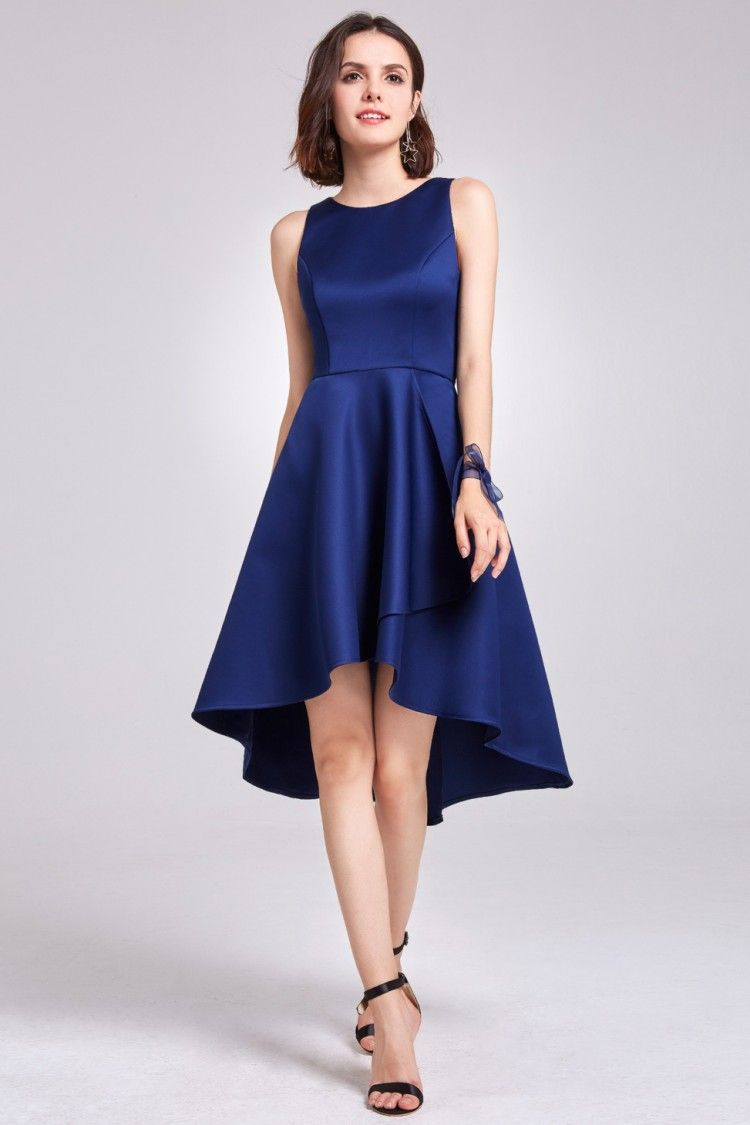 Navy blue sleeveless high low cocktail party dress epnb