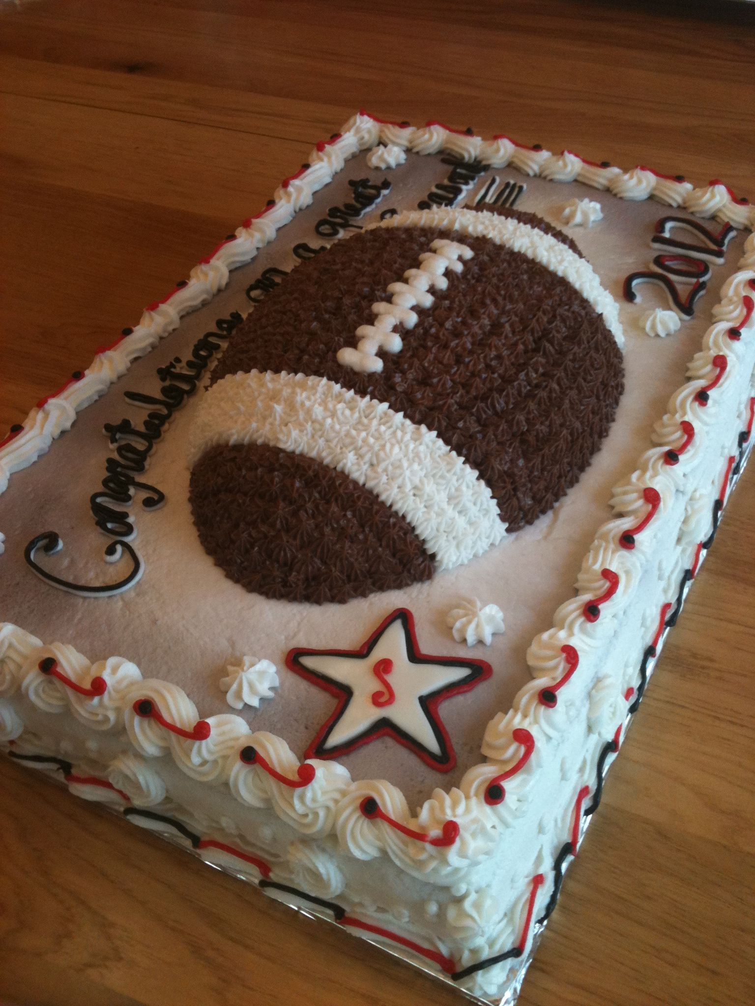 3D Football cake on top of Sheet Cake*