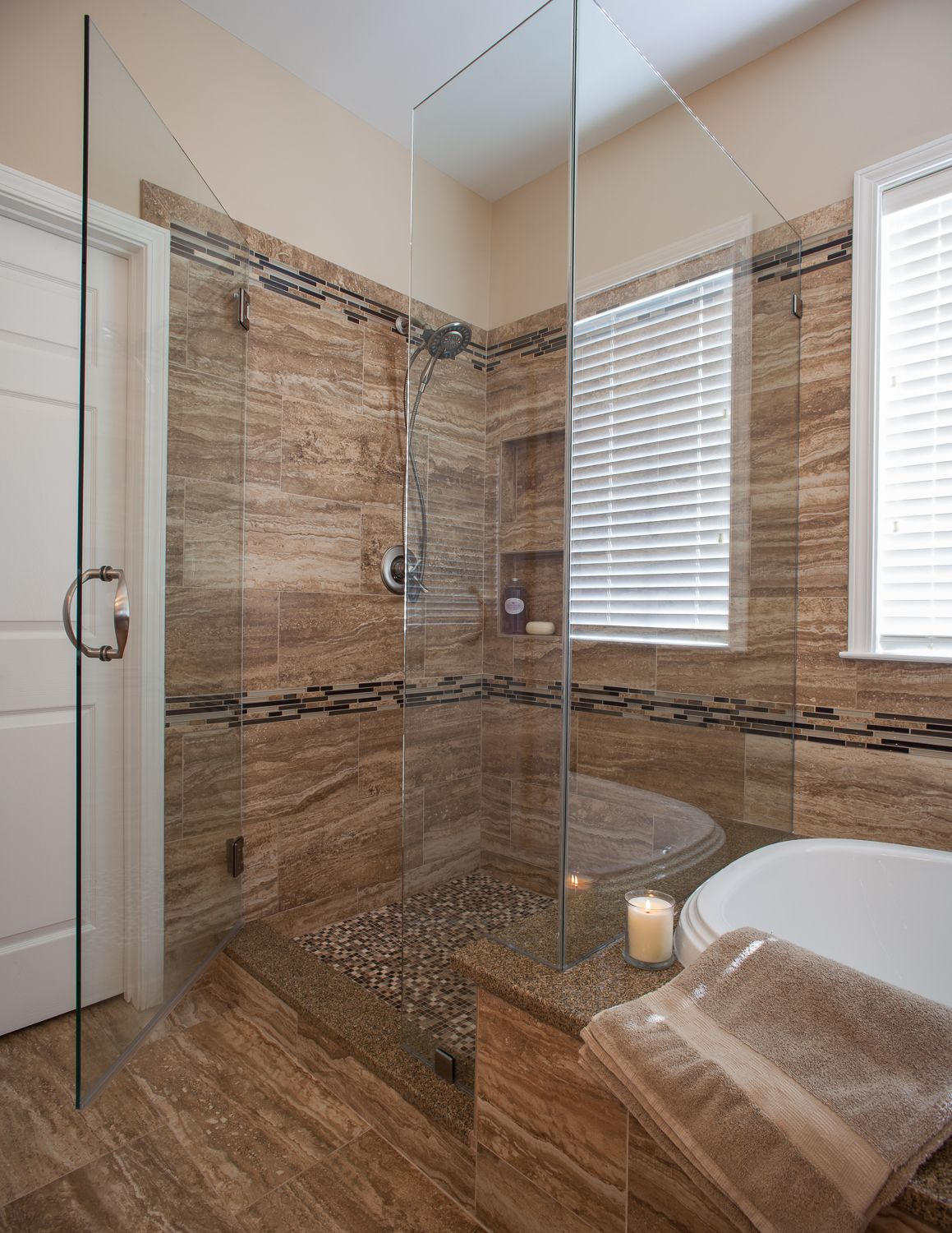 walk in shower ideas for master bathroom with glass divider and wooden wall and blinds window