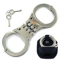 Item description  Silver steel construction Professional Handcuffs Comes with 2 Keys Triple hinge Co