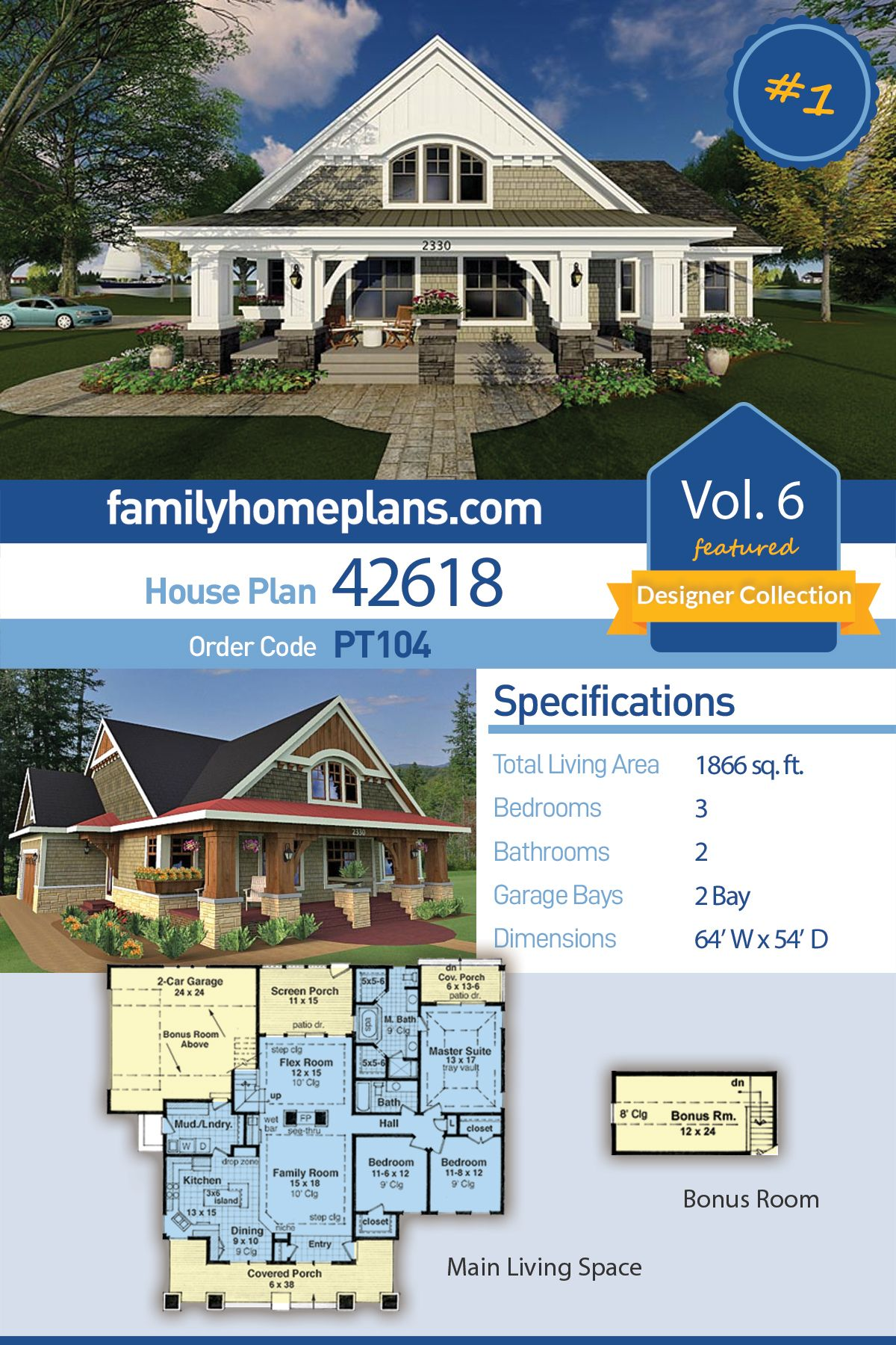 Traditional Style House Plan 42618 With 3 Bed 2 Bath 2 Car Garage Cottage House Plans Family House Plans House Plans