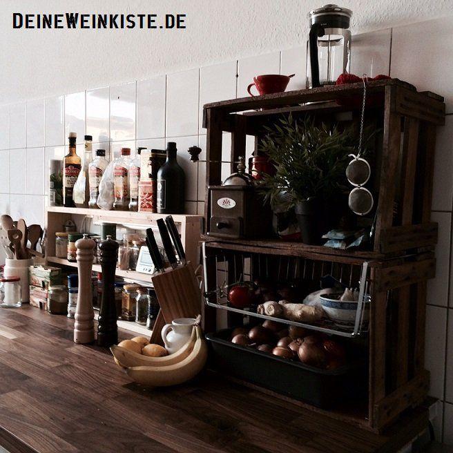 Wohnwand aus Weinkisten (mit Anti-Holzwurm-Wärmebehandlung) #06 - deko wohnzimmer regal