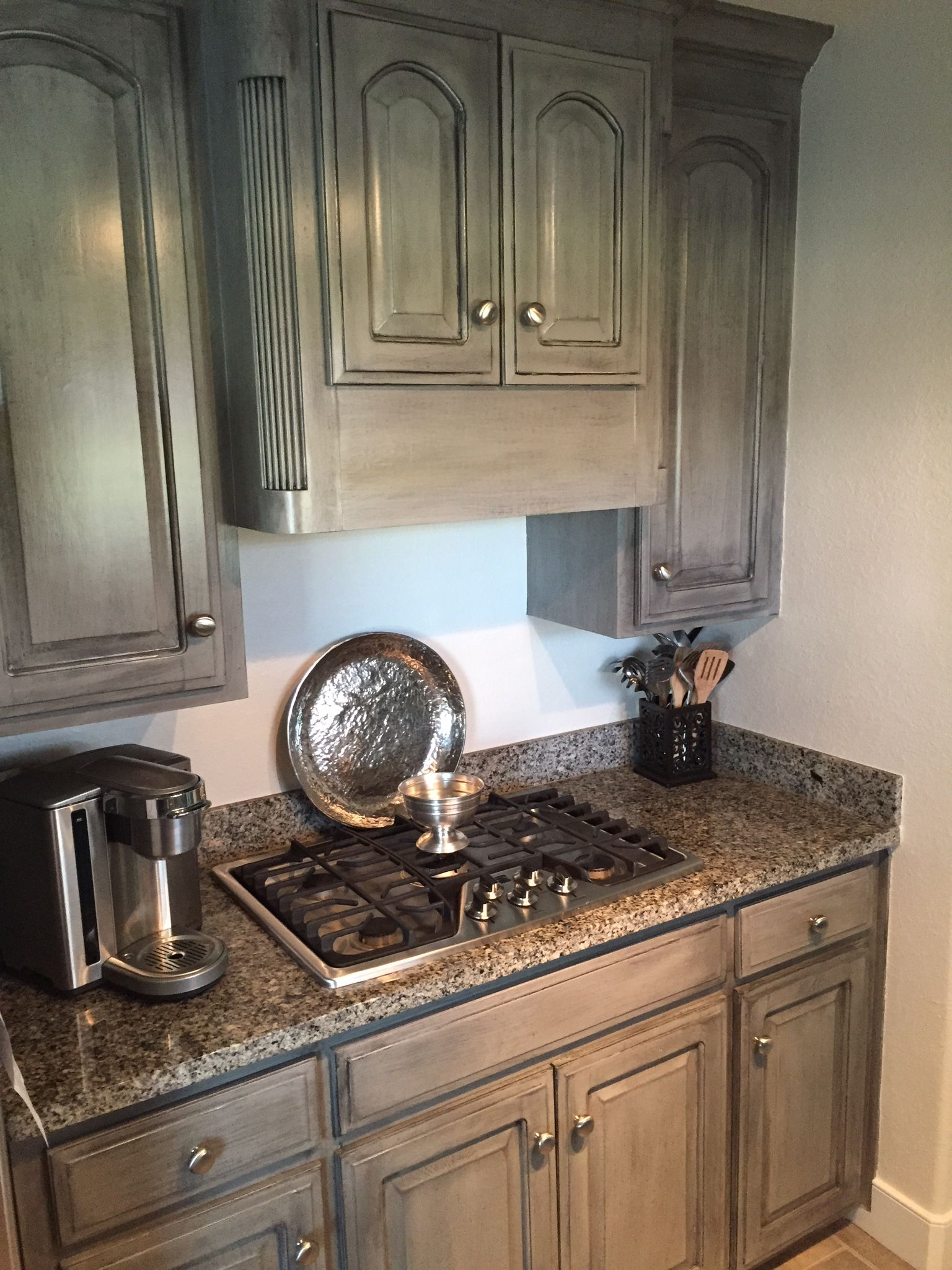 Pewter Cast Sherwin Williams With Black Glaze Stained Kitchen Cabinets Glazed Kitchen Cabinets Kitchen Cabinets Upgrade