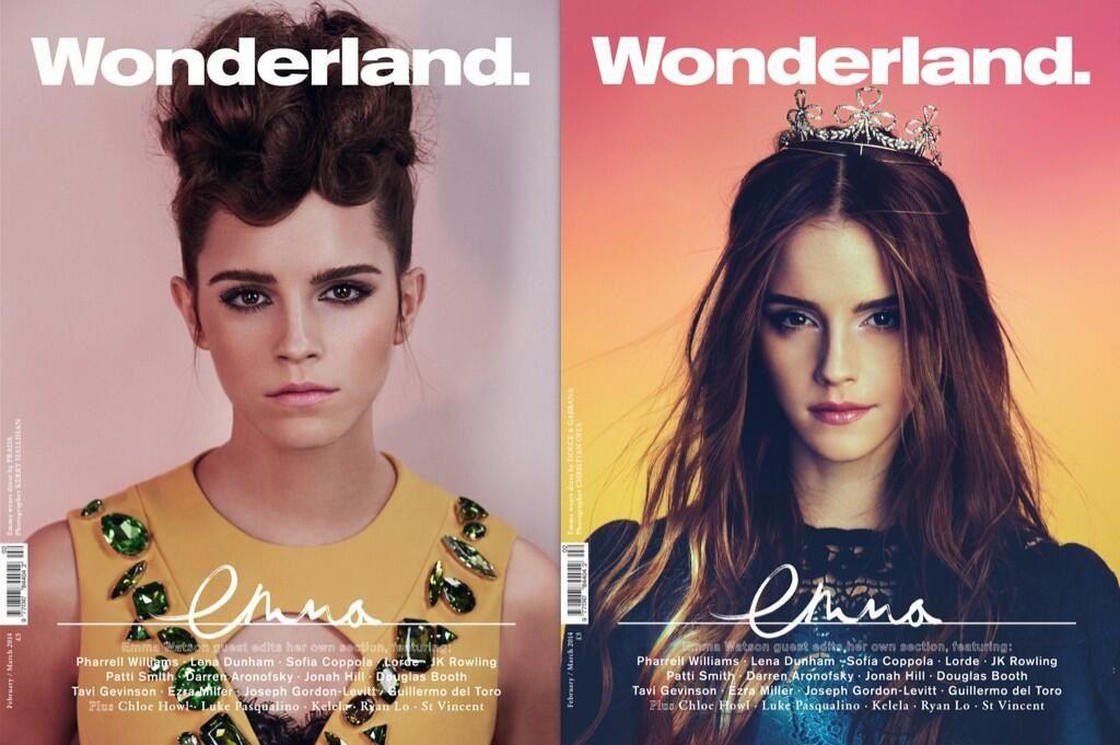 """Emma Watson protagoniza dos portadas de la revista """"Wonderland"""""""