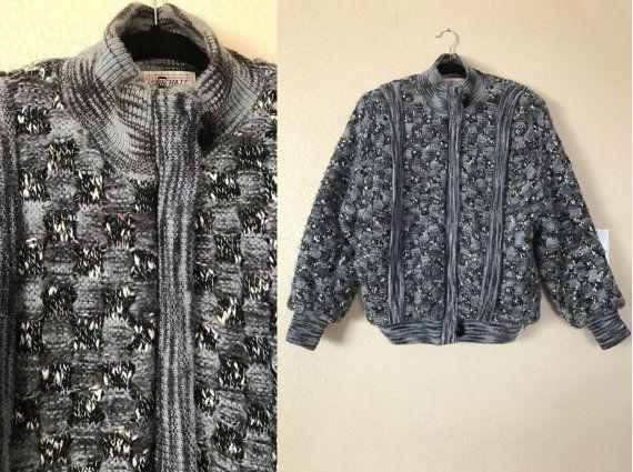 vintage Nelson Hall fuzzy Jacket. knit jacket. 80's by june22nd