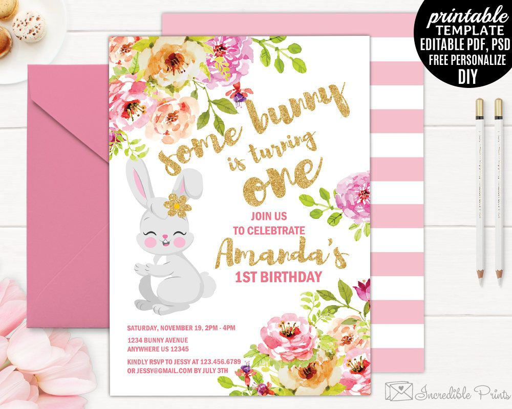 Girl Birthday Invitation Template Printable Bunny Blush pink Floral ...
