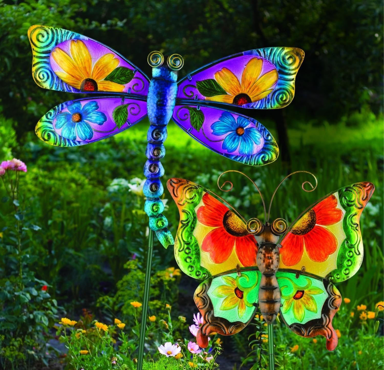 Floral green butterfly garden stake in garden accents