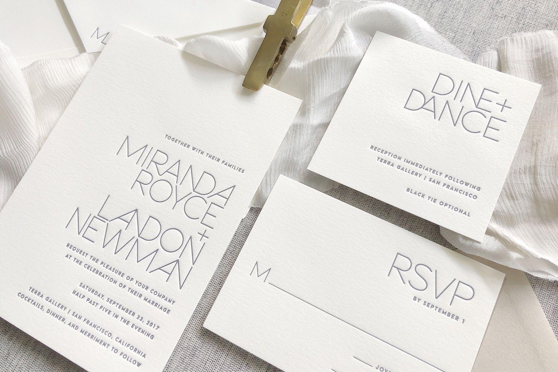 Alto Letterpress Wedding Invitation