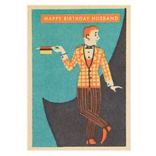 Buy Art Press Man With Straw Boater Husband Birthday Card Online At Johnlewis