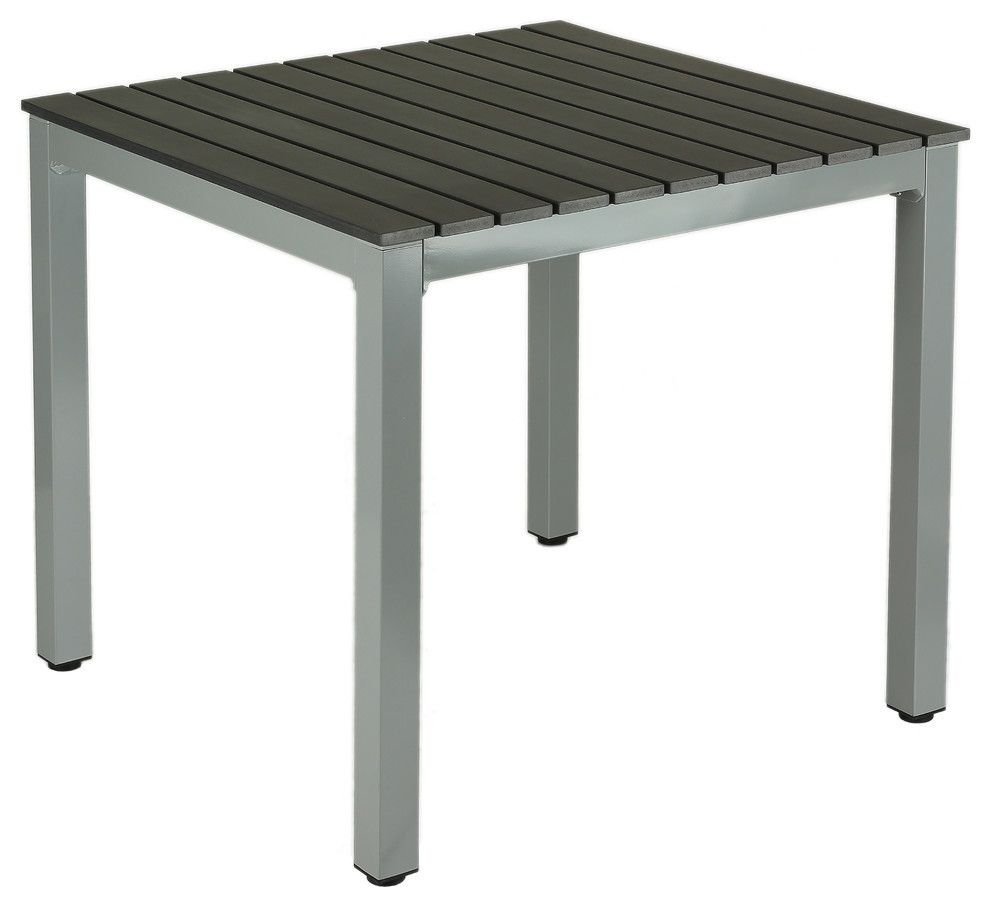 Jaxon Aluminum Outdoor Table, Poly Wood, Silver/Slate Gray ...