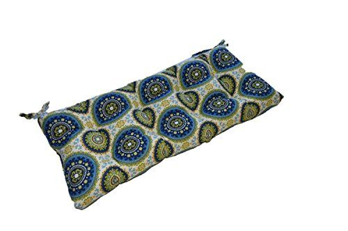Bohemian Sundial Print Blue Green Indoor Outdoor Tufted Cushion for