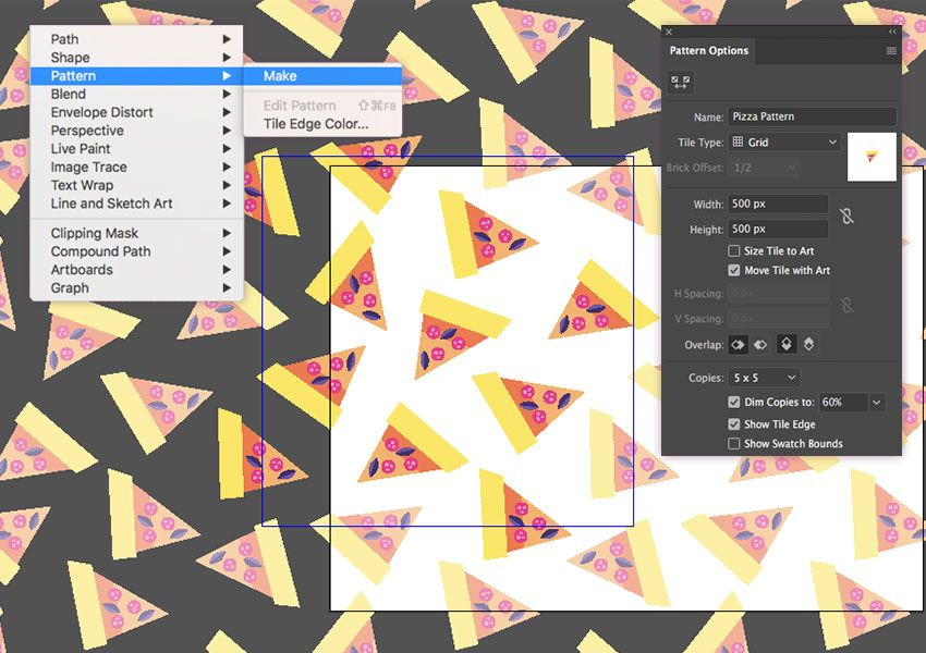 Placing Of The Pizza Slices Using The Pattern Tool Adobe