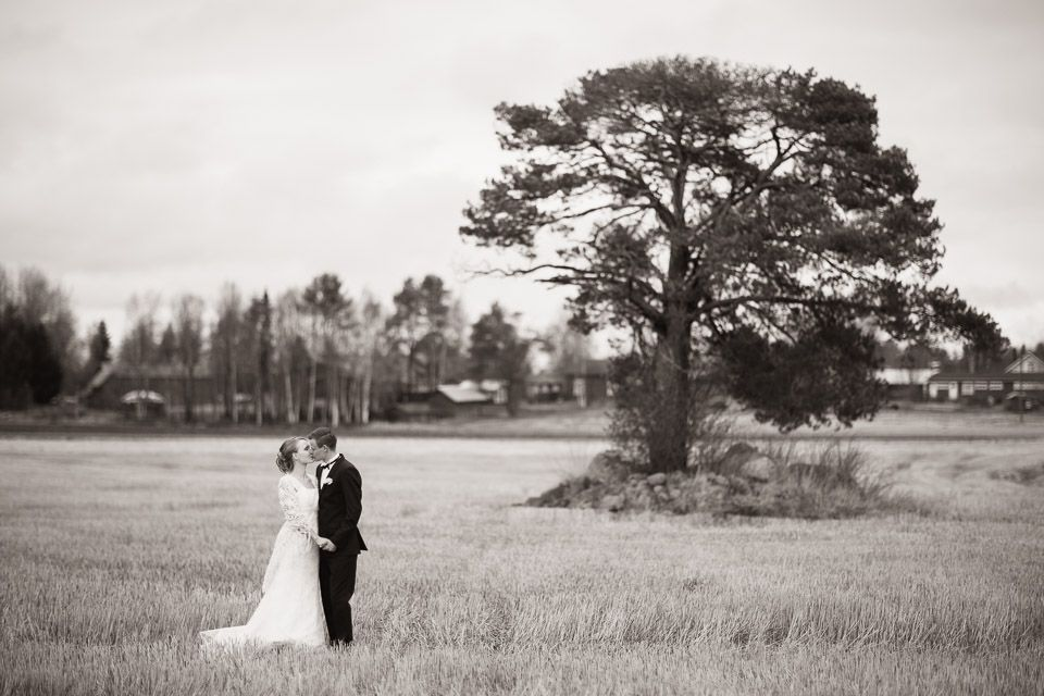 Outdoor wedding portrait at the countryside.
