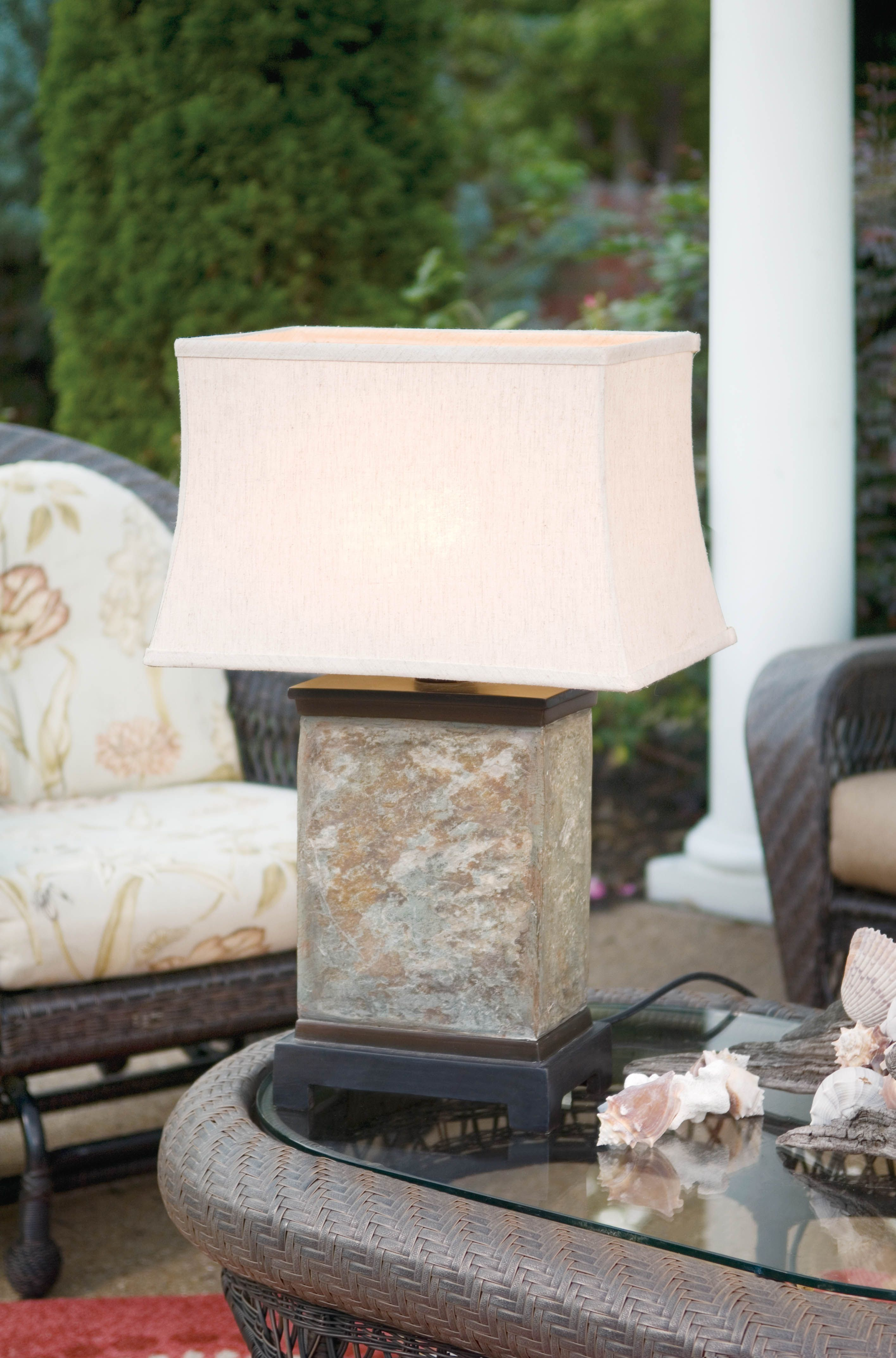 Slate Slab Outdoor Table Lamp Patio Decor Ideas Outdoor