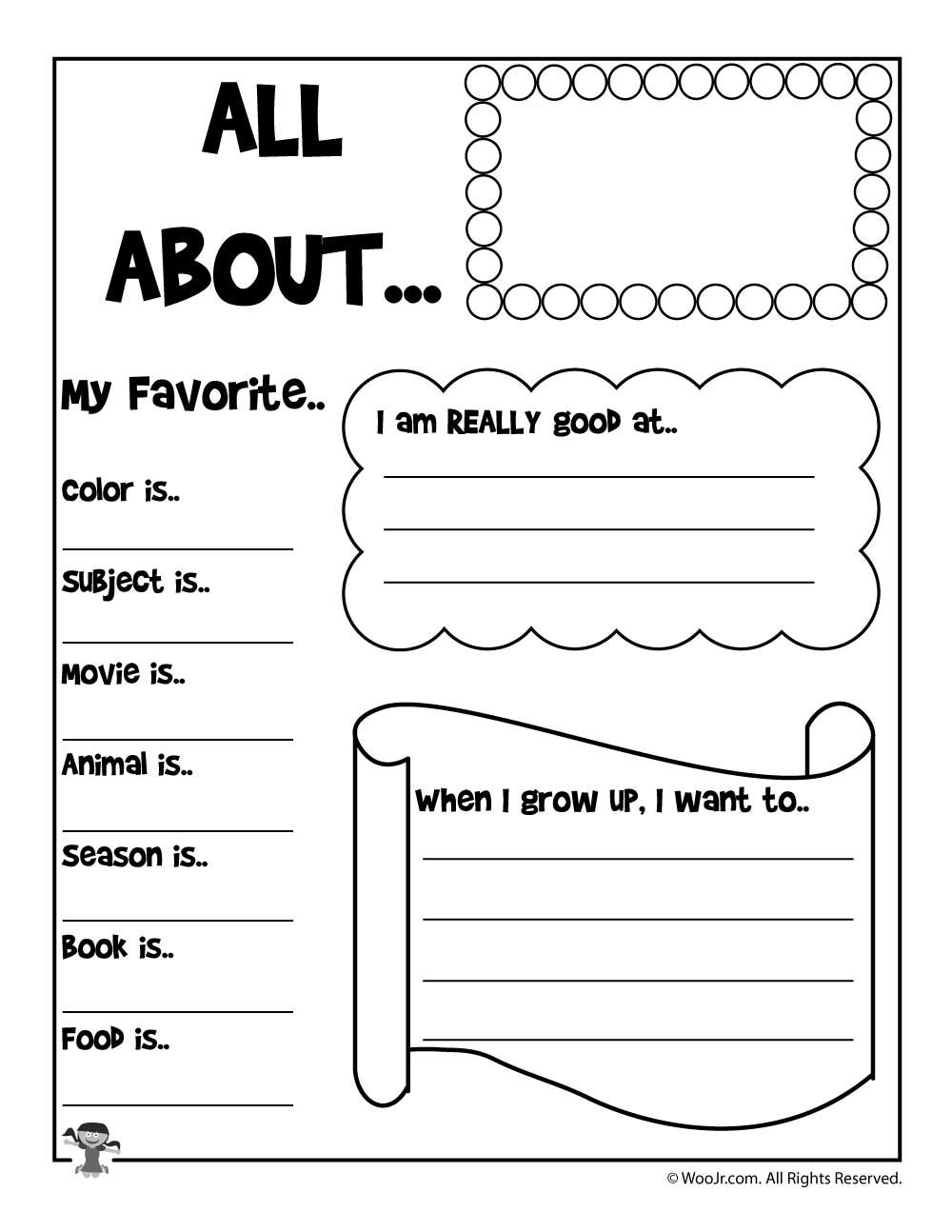 picture relating to Printable All About Me titled Printable More than Me Worksheets Printables for Little ones All