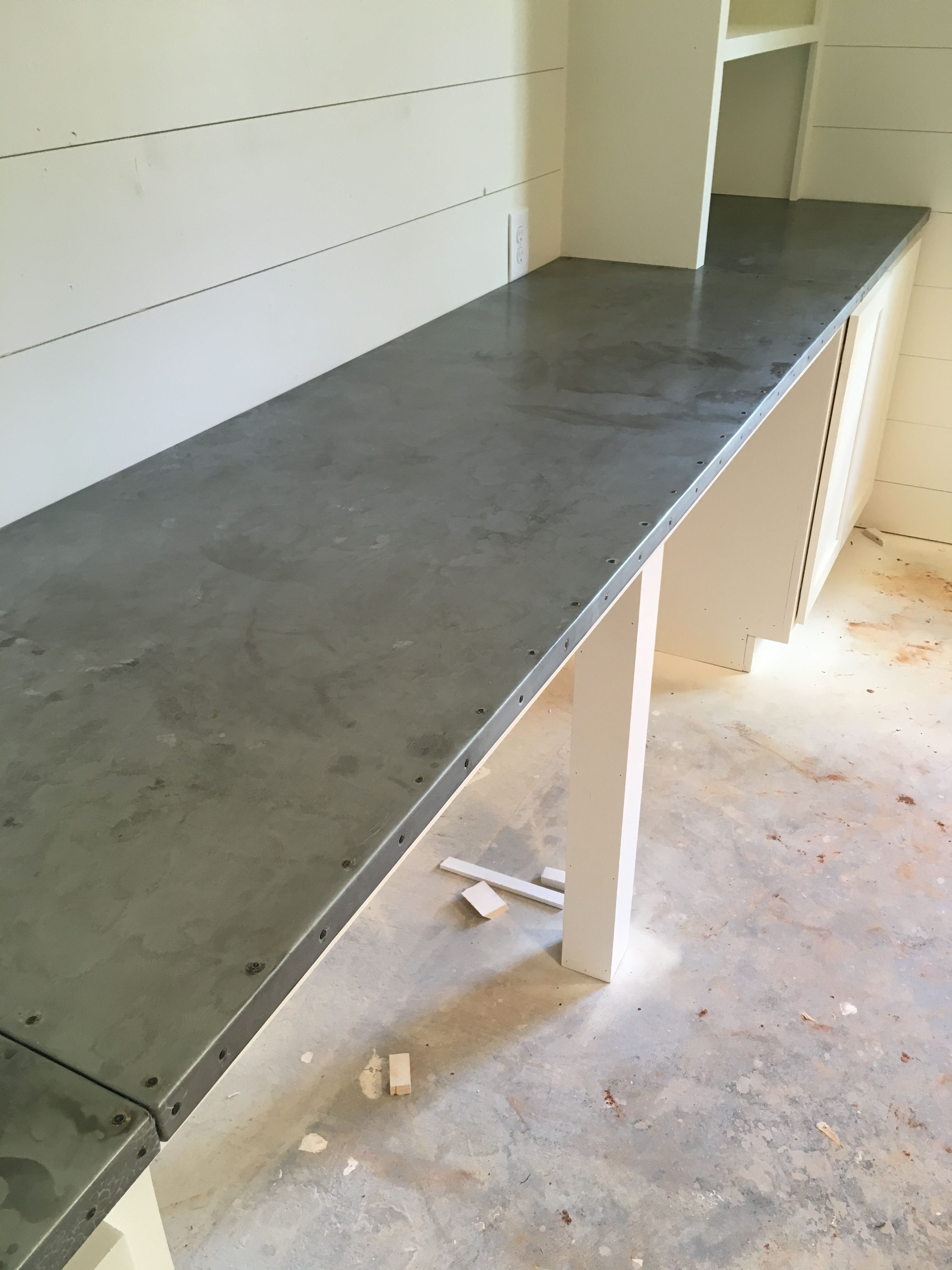 Zinc Counter Top With Nail Heads And Aged Patina Zinc Countertops Countertops Kitchen Rugs Sink