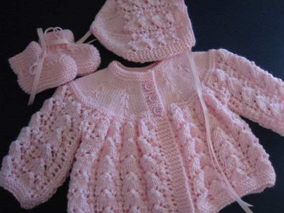 Hand Knitted Baby Girl Pink Sweater Bonnet Booties Set Newborn Reborn