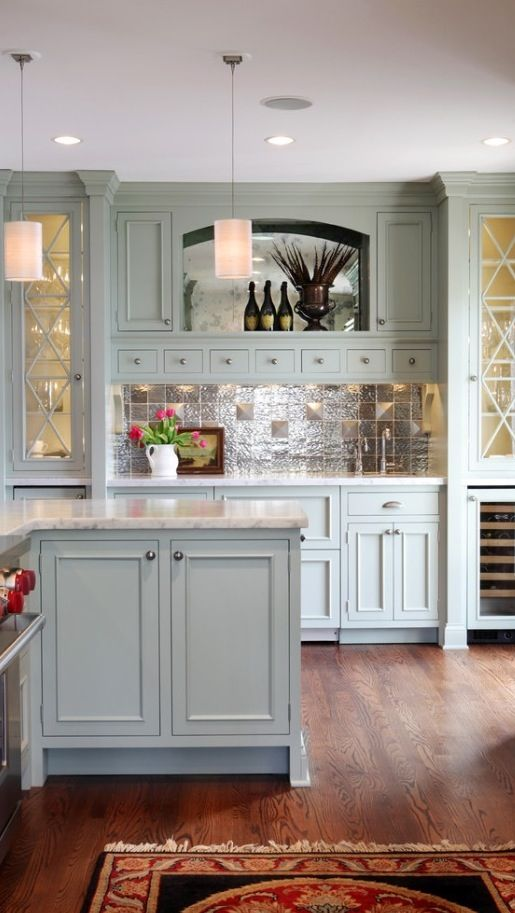 Light Blue Cabinetry Glass Cabinet Details Houzz Com Kitchen Inspirations Painted Kitchen Cabinets Colors Green Kitchen Cabinets