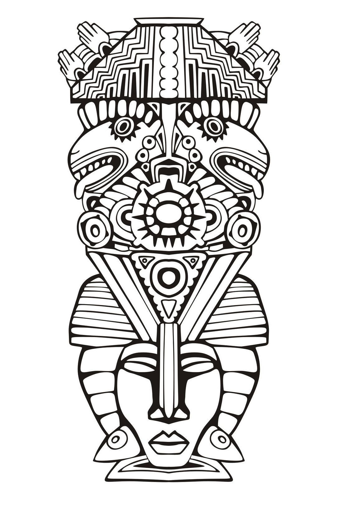Coloring Pages For Adults Masks : Adult coloring pages mayan mask