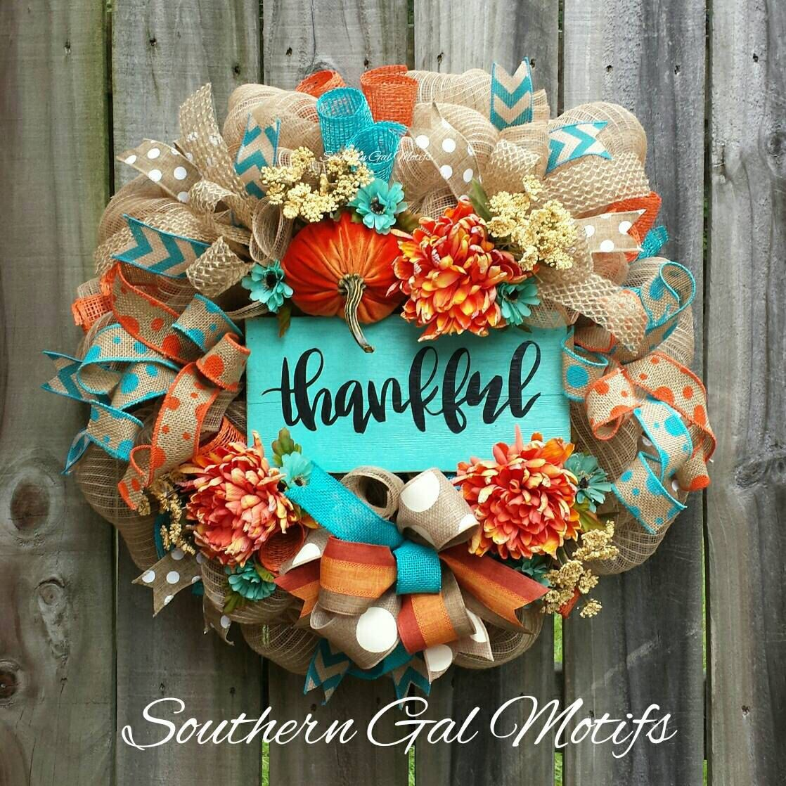turquoise orange thankful fall wreath automne pinterest automne belles fleurs et fleur. Black Bedroom Furniture Sets. Home Design Ideas