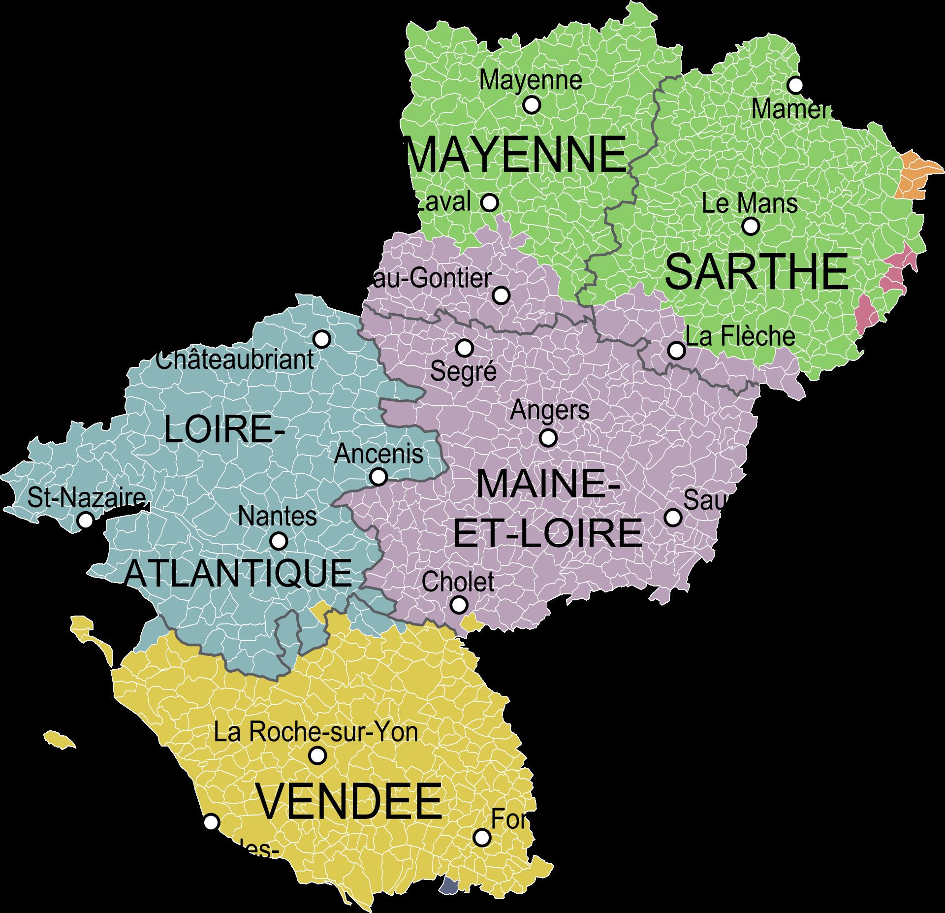 carte région pays de la loire