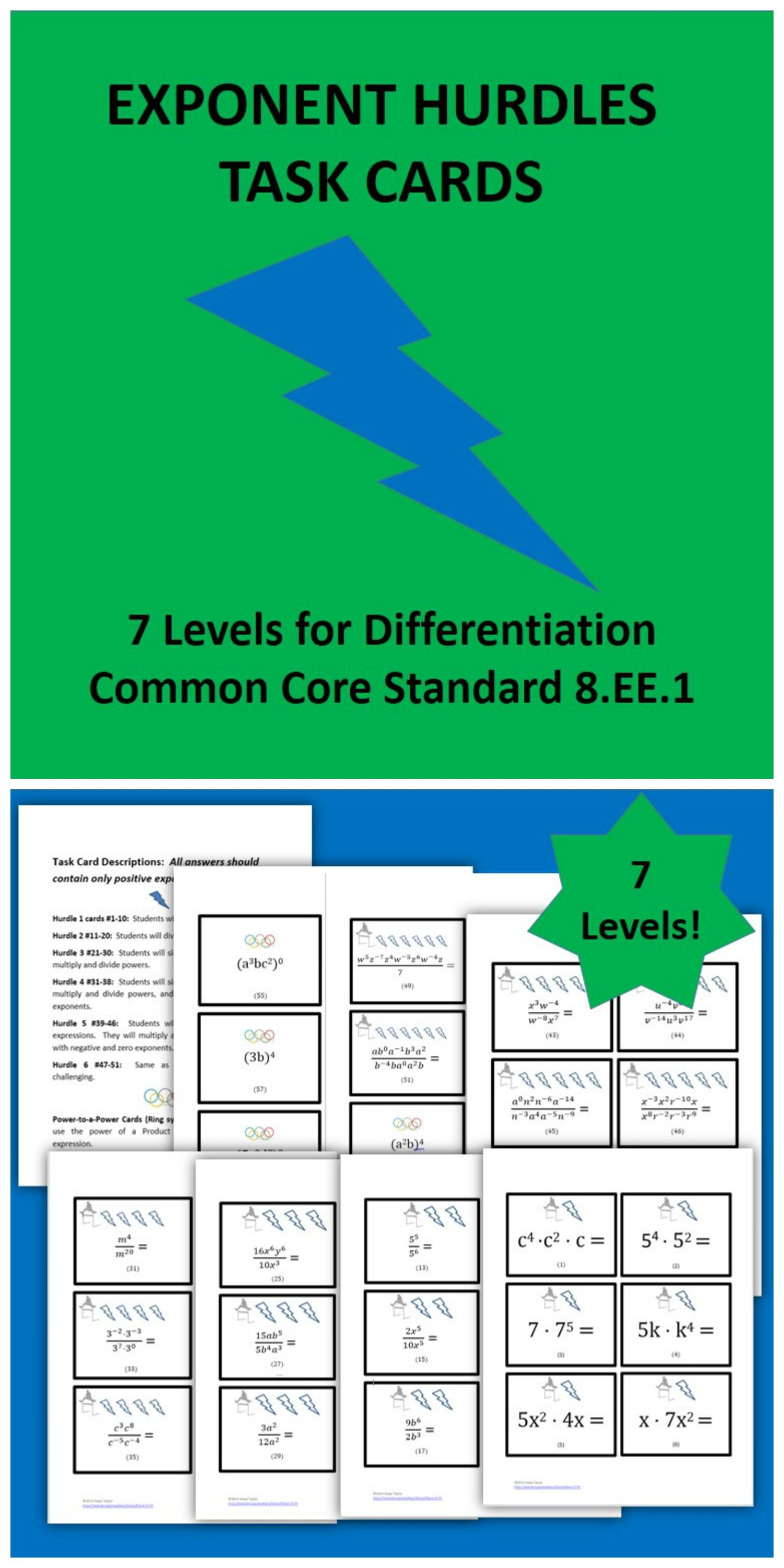 Exponent Rules Practice Hurdles 81 Differentiation Task Card