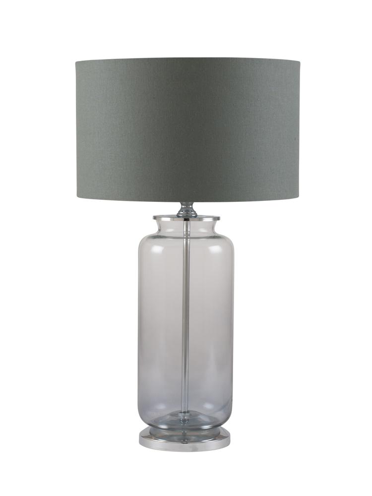 NEW Grey Smoke Glass Table Lamp