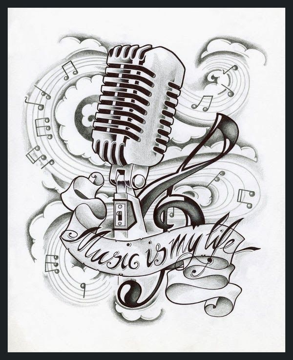 Music Tattoo Designs Drawings Best Tattoo Ideas
