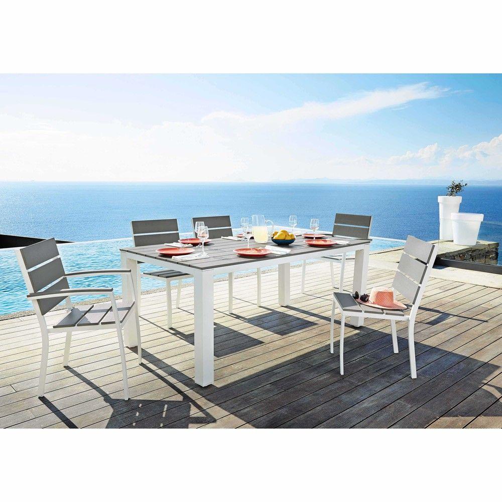 Table de jardin en aluminium gris clair L 180 cm Escale | Maisons ...