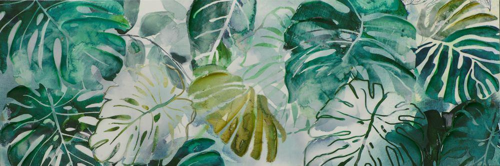 Tableau Feuilles vert d\'eau tons verts, blancs, beiges ...