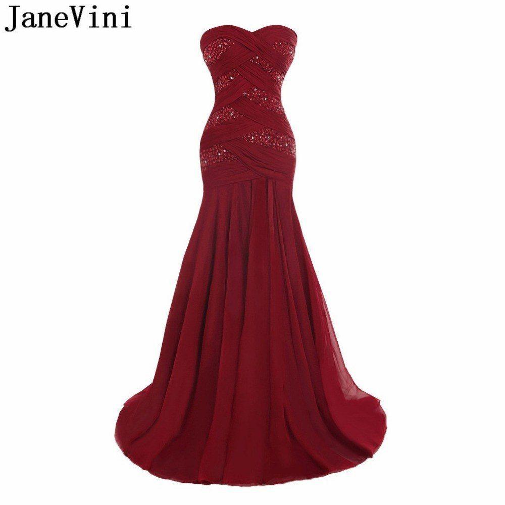 Simple Wedding Dress For Godmother: JaneVini 2019 Beaded Mermaid Evening Dress For Women