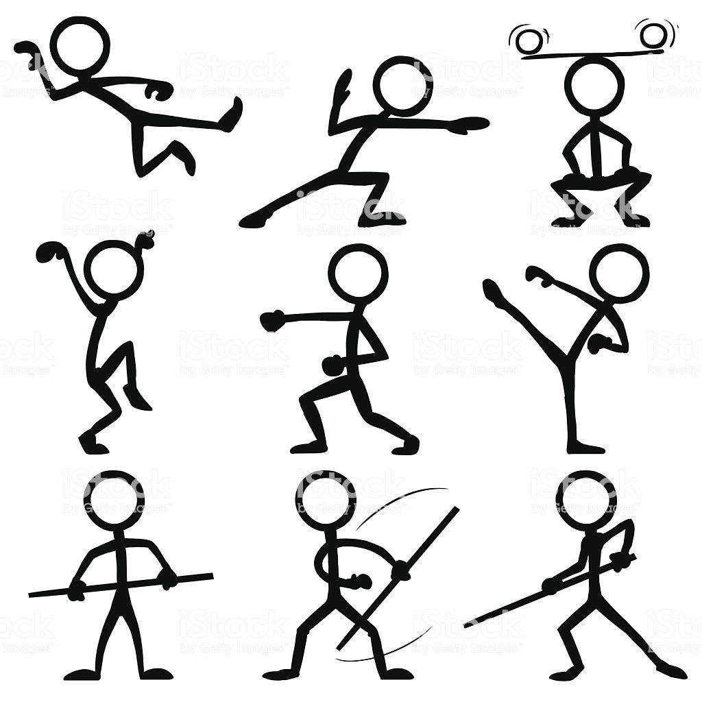 Stickfigures Doing Kung Fu Figura Con Palos Actividades De Arte Para Preescolares Figuras Simples