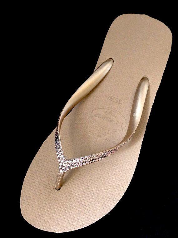 havaianas slim swarovski crystal flip flops in rose gold