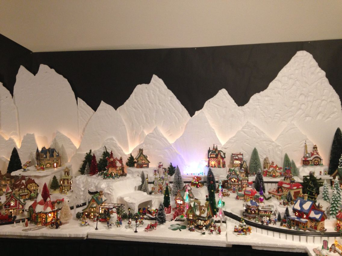Christmas village backdrop merry and happy new