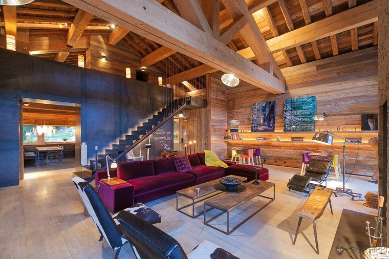 D coration int rieur chalet montagne 50 id es inspirantes salons modernes salon et d corations for Interieur chalet montagne photo