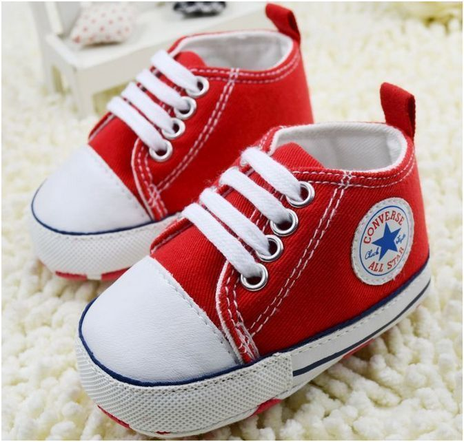 Cute Baby Boys Girls Canvas Soft Sole Crib Shoes Trainers Red Xmas Gifts