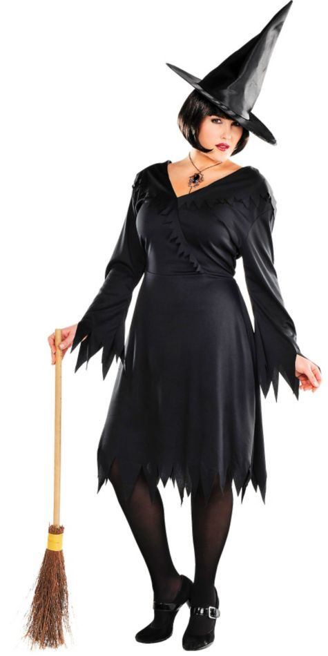 size witch costume tattered Plus