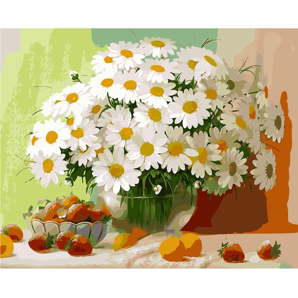 Daisy Flowers Oil Painting By Numbers On Canvas Handpainted Wall Arts Decoration