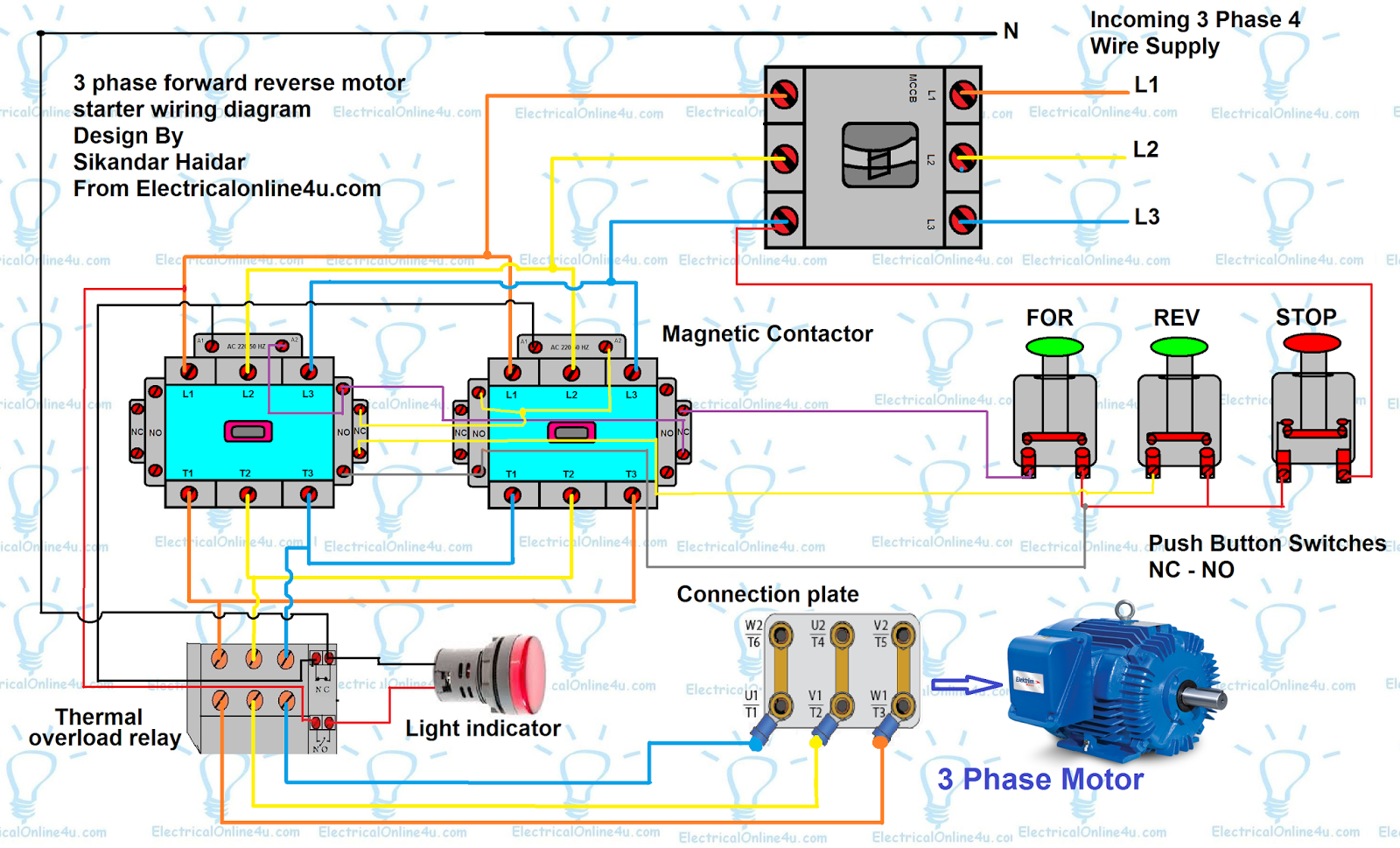 Forward Reverse Motor Control Diagram For 3 Phase Motor | Electrical Online  4u
