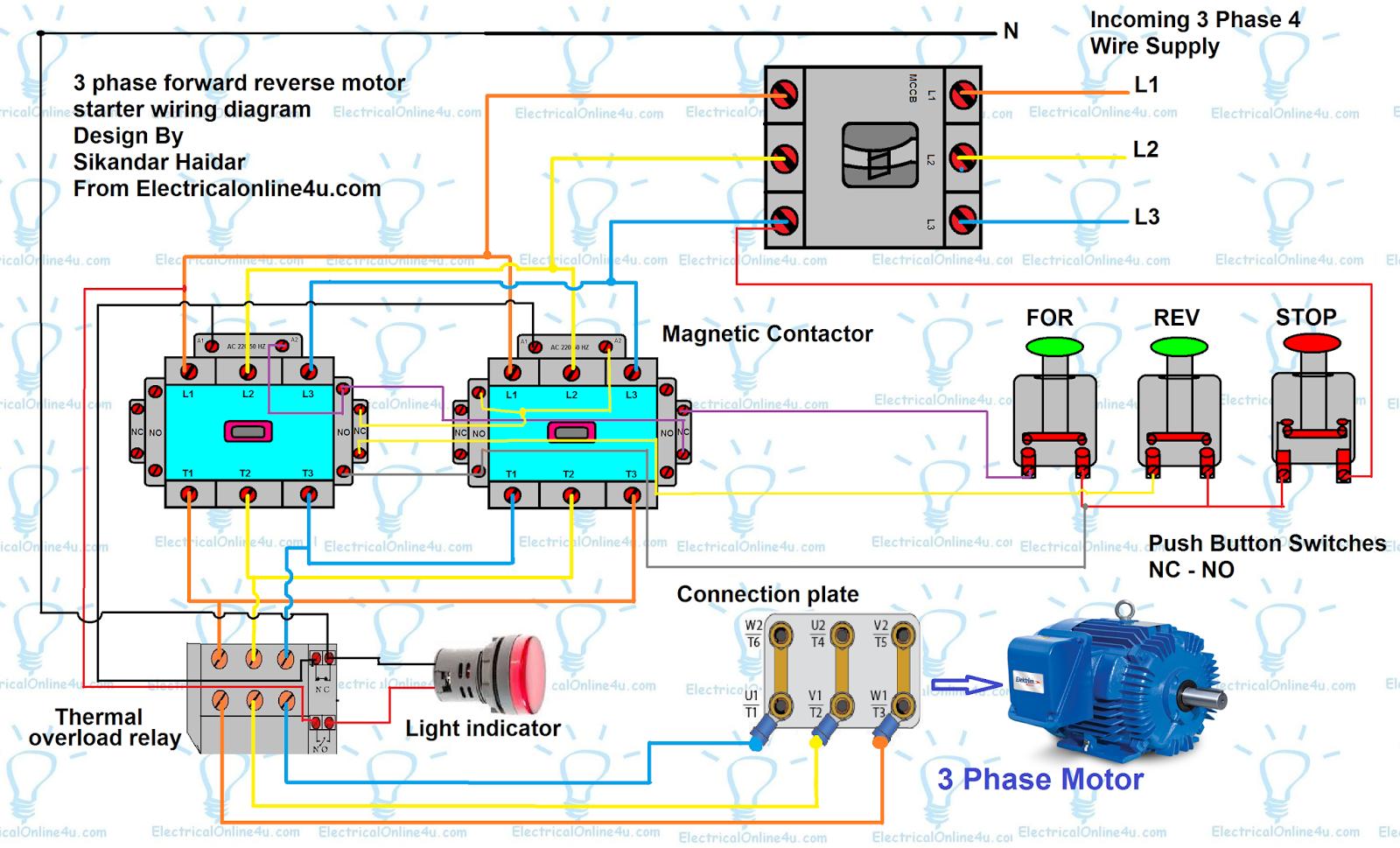 Forward Reverse Motor Control Diagram For 3 Phase Motor