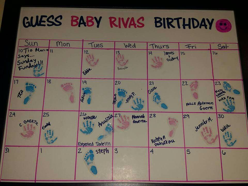 Diy Guess baby's birthdate   Poster board cut to fit 11x17 frame, stickers for the title, outlined calendar with ruler and pencil, then marker
