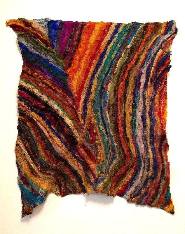 New felted wall hanging by Robbin Firth of HeartFelt Silks