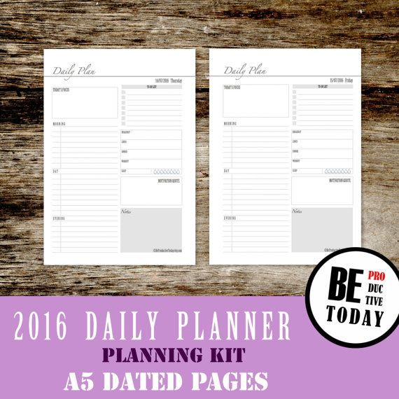 2016 Dated Daily Planner, Daily Printable Planner, Printable Inserts, Daily Planner 2016, Filofax Inserts, A5 Printable, Student College PDF